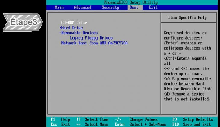Modifier le menu BIOS