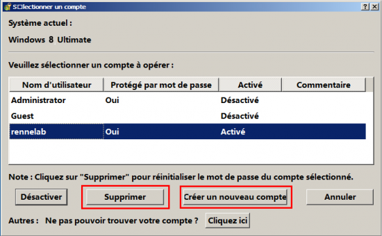 Réinitialiser le mot de passe Windows 8 avec Renee PassNow