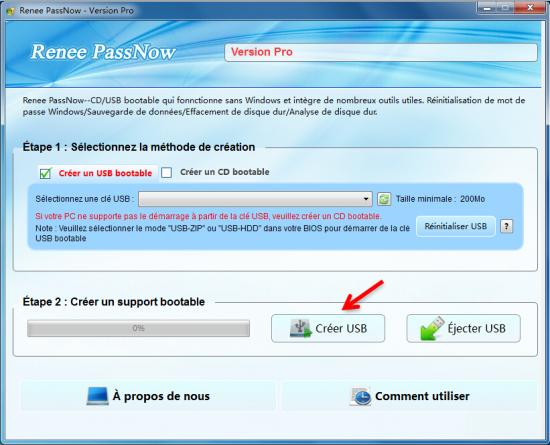 créer un disque bootable dans Renee PassNow