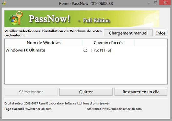 Renee PassNow-réinitialiser le mot de passe oublié Windows