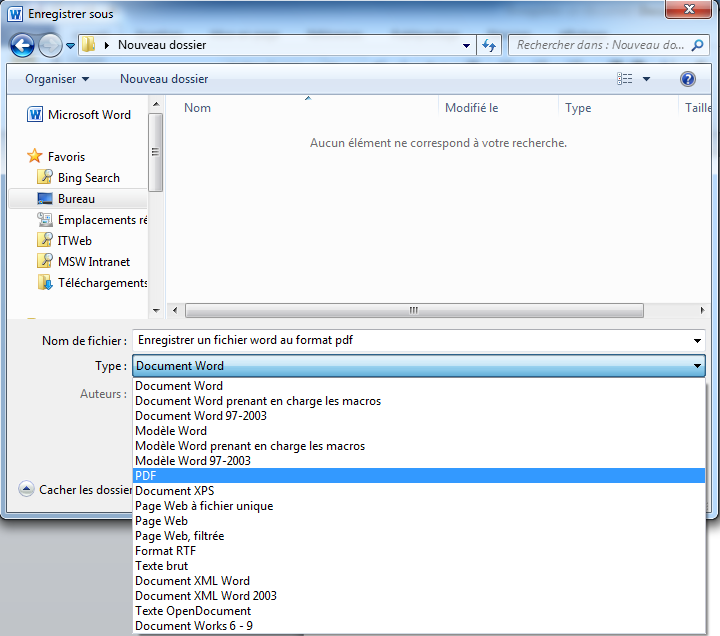 convertir un fichier word en pdf avec microsoft word