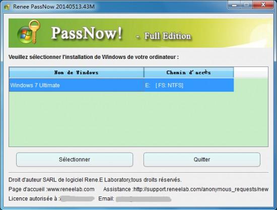 Renee PassNow--réinitialiser le mot de passe oublié Windows
