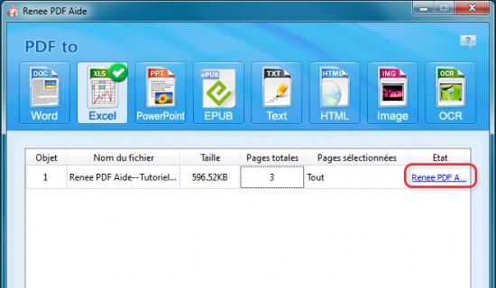 Convertir PDF en Excel gratuit-Renee PDF Aide