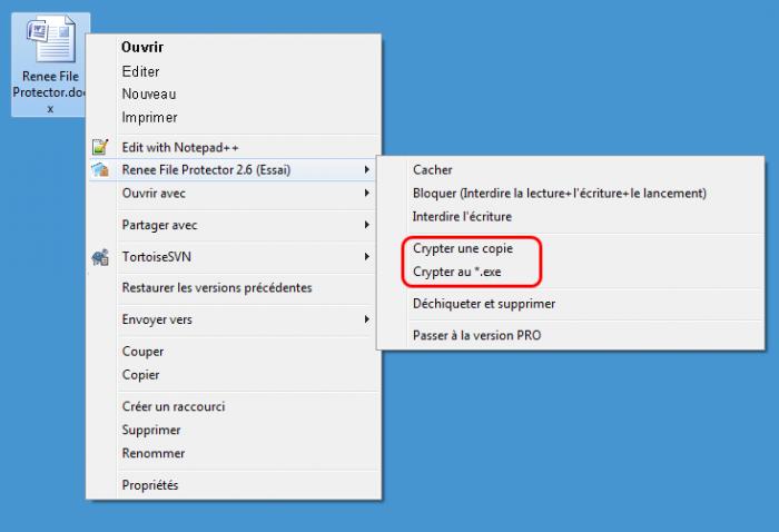 Crypter un fichier avec Renee File Protector