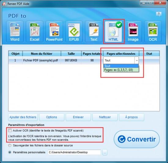 Renee PDF Aide-Convertisseur PDF gratuit pour convertir PDF en HTML