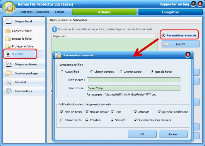 Surveiller le fichier avec Renee File Protector