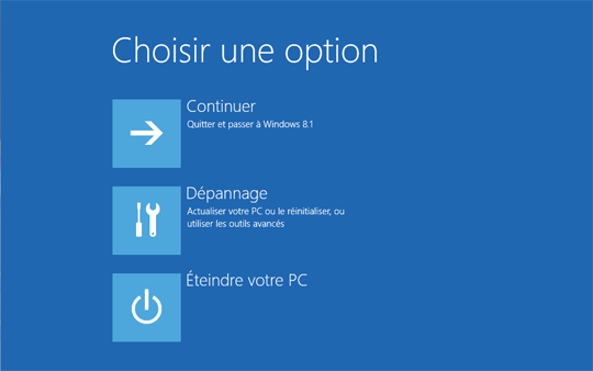 Sélectionner l'option Dépannage-Windows 8