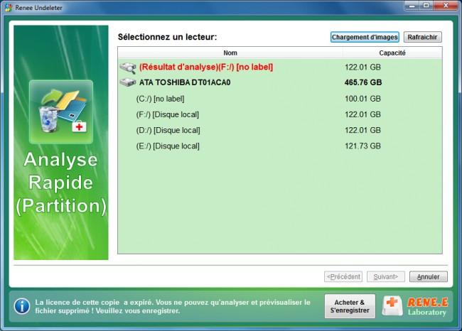 sélectionner le disque dur à analyser dans Renee Undeleter