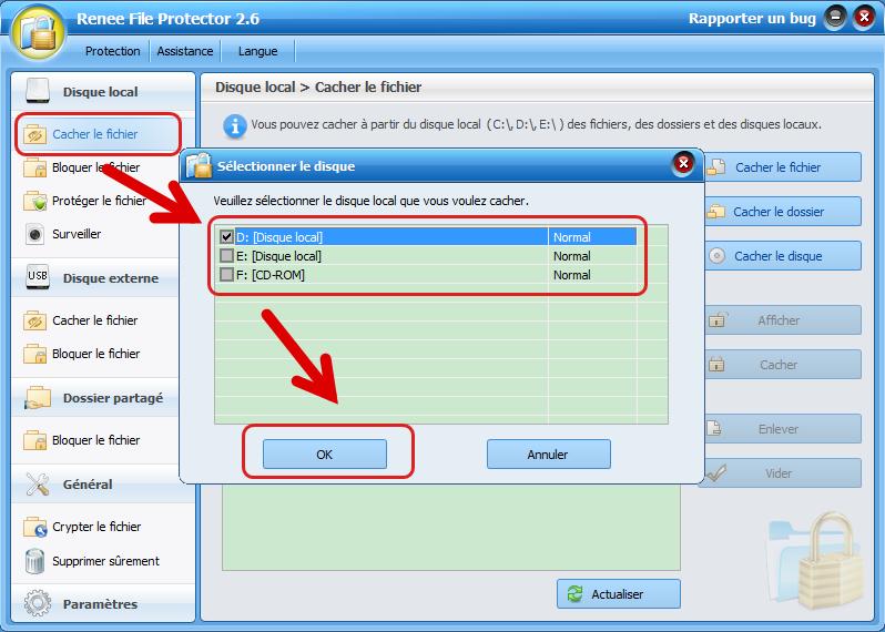 cacher un disque dur avec Renee File Protector