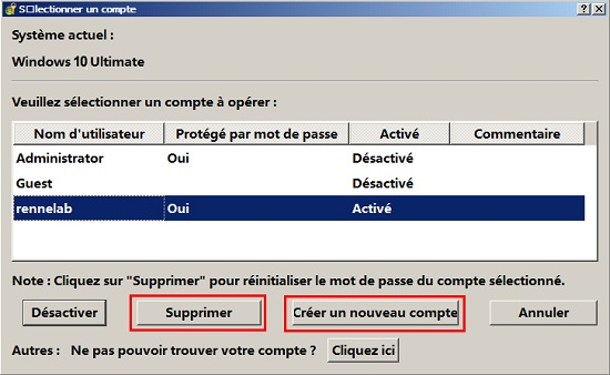 Supprimer le mot de passe Windows 10 oublié - Renee PassNow