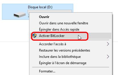 activer BitLocker sur un disque