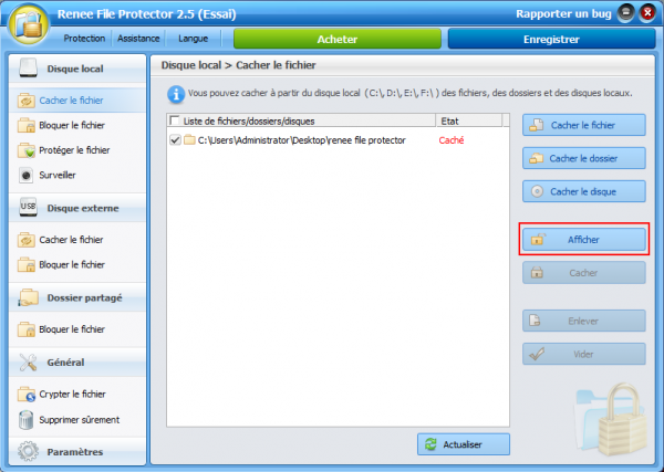 Afficher le dossier caché sous Windows 7 - Renee File Protector