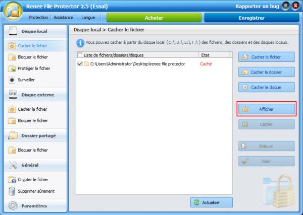 Afficher le dossier caché sous Windows 7 - Renee File Protector