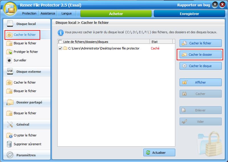 Cacher le dossier avec un logiciel de cryptage gratuit - Renee File Protector
