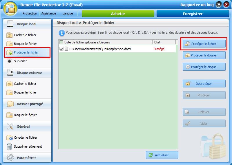 protéger un fichier avec Renee File Protector