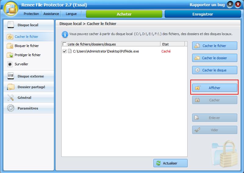 afficher un programme caché avec Renee File Protector