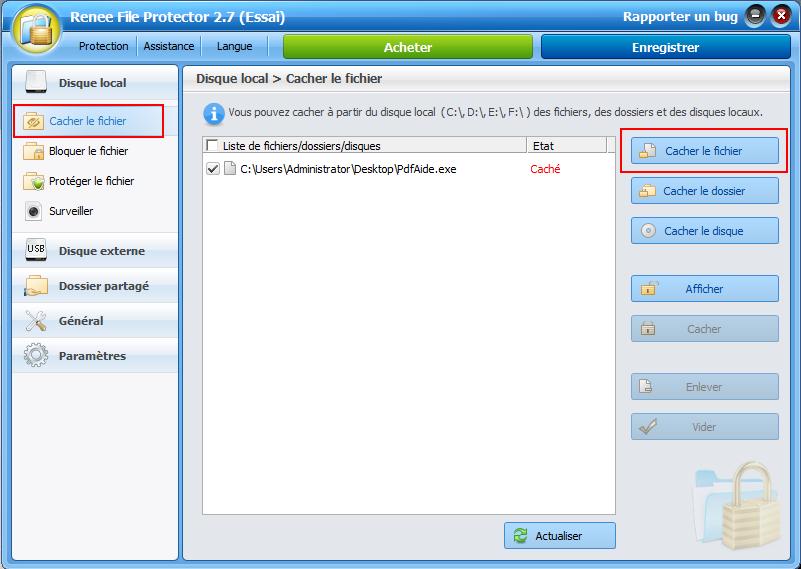cacher un programme avec Renee File Protector