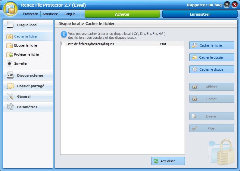 Renee File Protector pour cacher une application