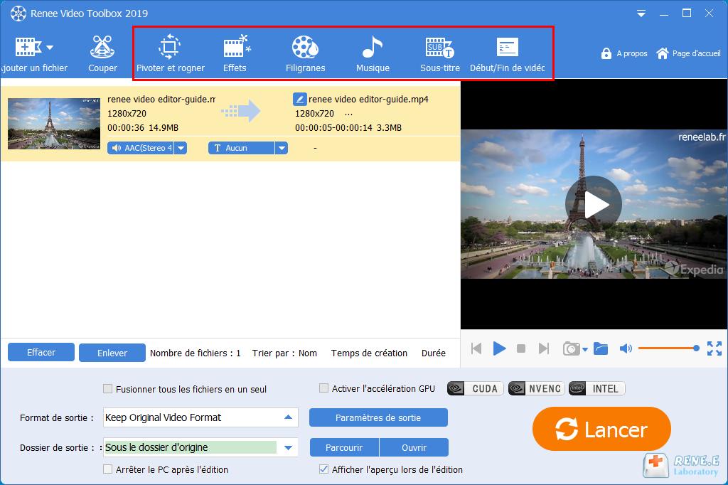modifier la vidéo avec d'autres fonctionnalités