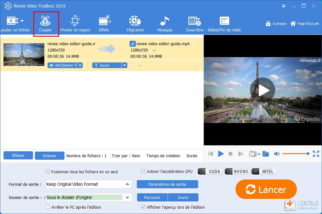 couper une vidéo avec la fonctionnalité de découpage