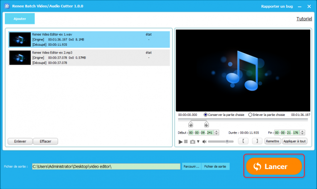 Couper des audios en série avec Renee Video Editor
