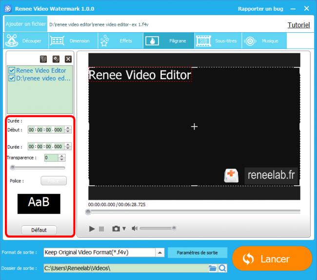 Ajouter un filigrane sur une vidéo avec Renee Video Editor