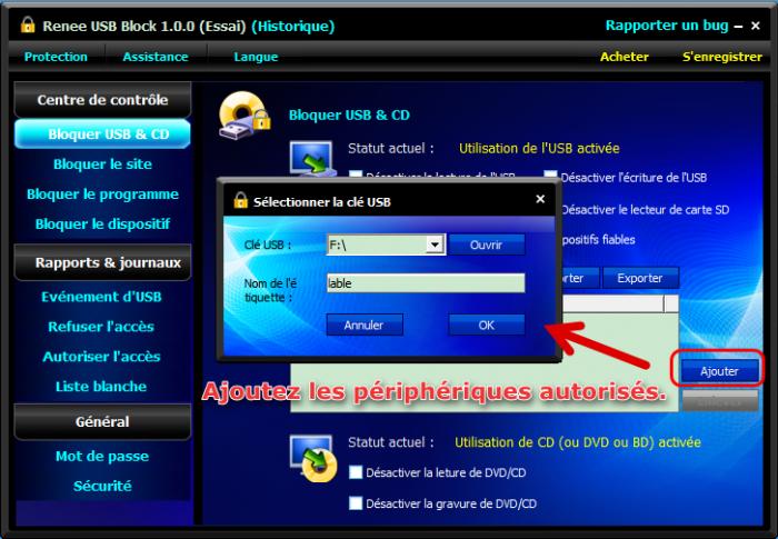 Ajouter l'USB dans la liste blanche pour autoriser son utilisation - Renee USB Block