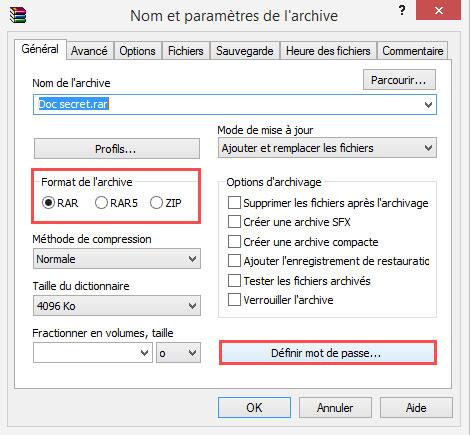 Ajouter un mot de passe sur le fichier zip avec winrar