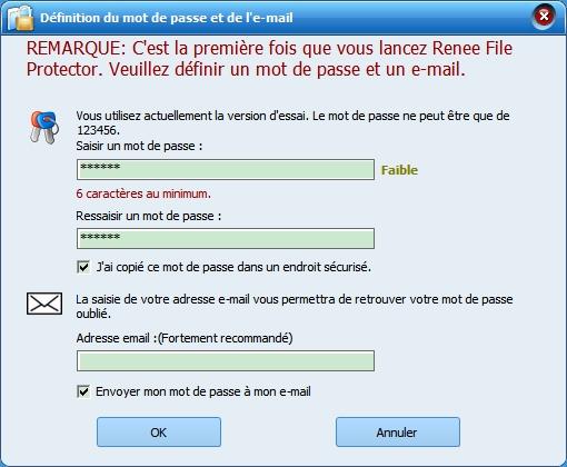créer un mot de passe pour Renee File Protector