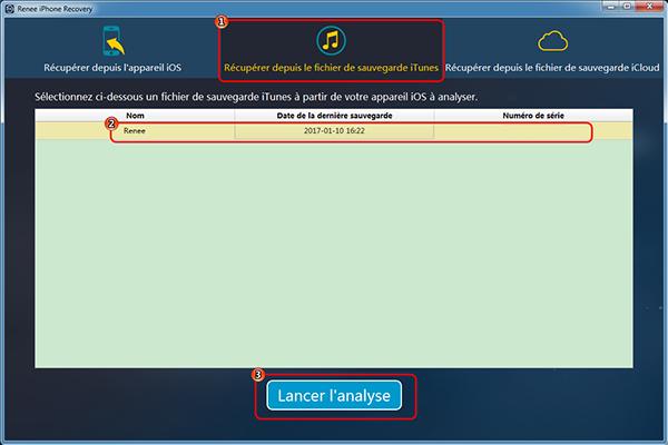 Récupérer les fichiers depuis la sauvegarde iTunes