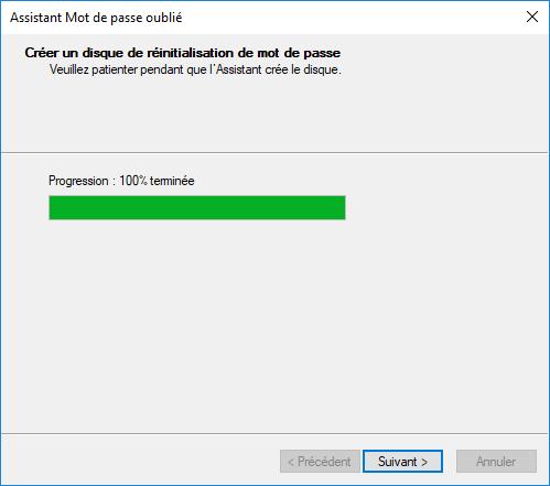 attendre la création de la clé USB