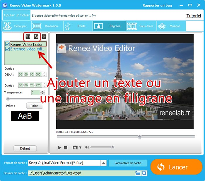 Ajouter un filigrane avec Renee Video Editor