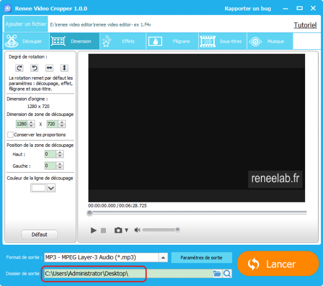 Convertir la vidéo en MP3 - Renee Video Editor