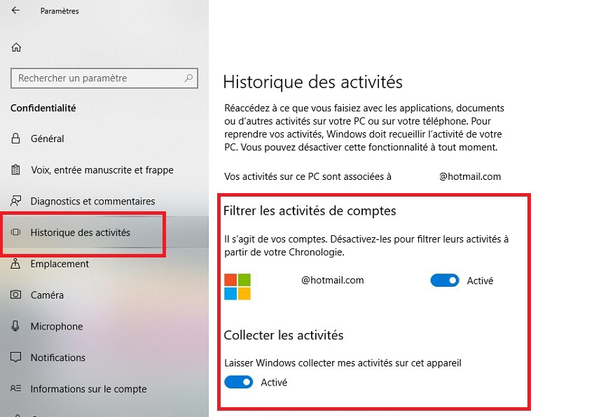 comment d u00e9sactiver la fonction timeline sur windows 10