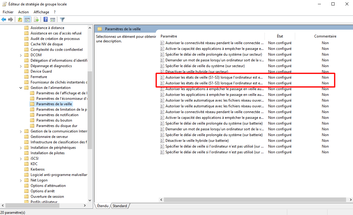 comment afficher le mode de veille sur windows 10