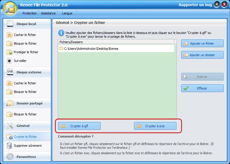 Sélectionner le format gfl ou exe à crypter