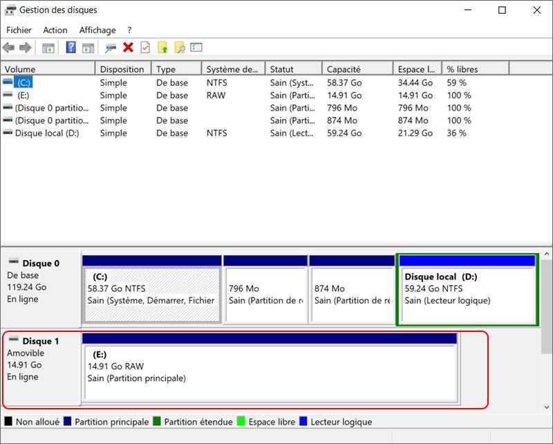 clé USB en raw dans la gestion des disques