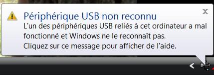 périphérique USB non reconnu ou port USB ne fonctionne plus