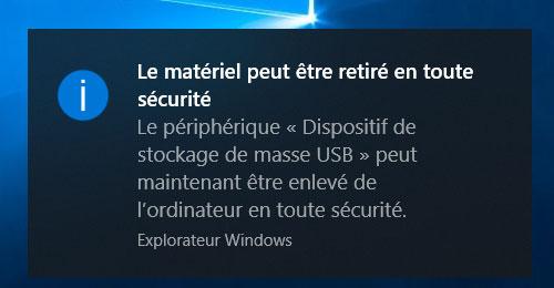 retirer la clé USB en toute sécurité