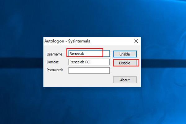Désactiver la connexion automatique Windows 10 par l'outil Autologon