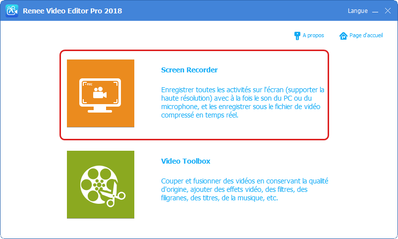 fonction d'enregistrement écran de Renee Video Editor Pro