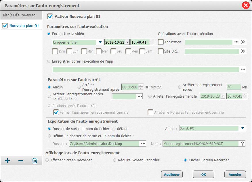 paramètres de l'enregistrement automatique de Renee Screen Recorder