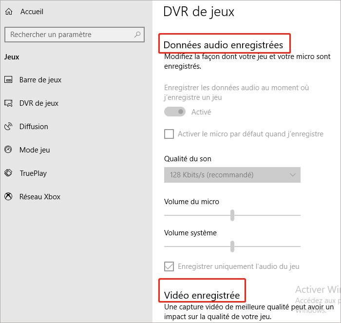 configuration à DVR de jeu
