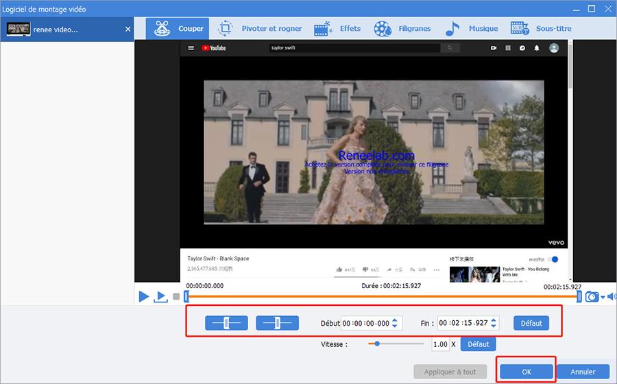 déplacer les glissières pour definir le longeur de video