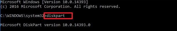 lancer diskpart pour réparer l'erreur 0xc0000225