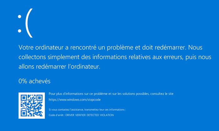 écran bleu Windows 10 causé par la défaillance de matériels