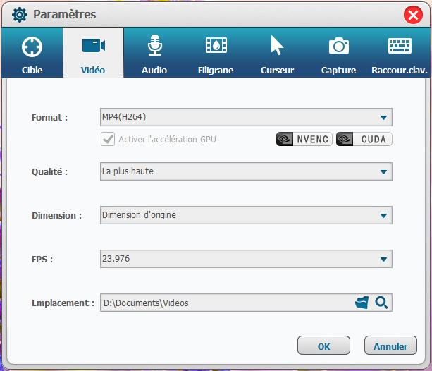 interface de parametres video renee screen recorder pro