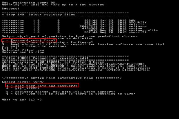 Réinitialiser le mot de passe par Offline NT Password & Registry Editor