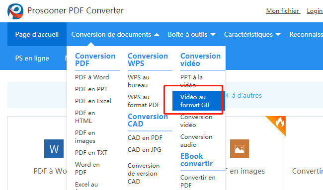 Convertisseur Prosooner video to GIF