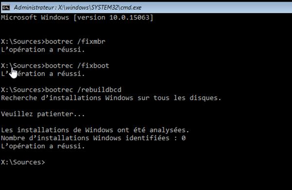 invite de commande bootrec pour fixboot